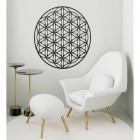 """Geometry """"Flower of Life"""" Steel Wall Art in a Modern Sitting Room"""