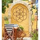 """Rustic """"Seed of Life"""" Steel Wall Art in Situ Outdoors"""