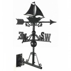 Cast Iron Sail Boat Weathervane Mounted on the Universal Bracket Horizontally
