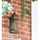 """Sandy Bay"" Brass Wall Lantern in Situ Next to the Front Door"