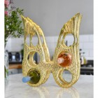 Gold 'Angel Wings' Wine Rack with Wine Bottles