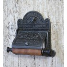 """""""Sanitary Paper Co"""" Iron Wall Mounted Toilet Roll Holder in Black"""