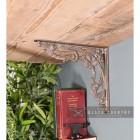"Scroll Design Cast Iron ""Victorian Amalina"" Wall Bracket in Situ Holding up a Wooden Shelf"