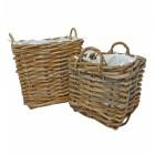 Set of 2 Natural Square Wicker Log Baskets