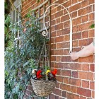 'Shepherds Crook' Hanging Basket Wall Bracket Holding a Flower Basket for Scale