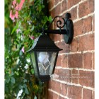 """Sheringham"" Traditional Black Top Fix Wall Lantern Finished in Black"