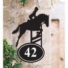 Bespoke Showjumping Horse Iron House Number Sign in Situ