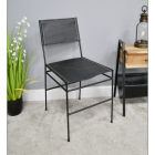Simplistic Leather & Iron Dining Chair in Situ