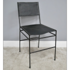 Simplistic Leather & Iron Dining Chair Finished in Black