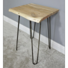 Side View of The Simplistic Side Table Created From Wood & Iron