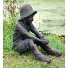 Sitting Boy & Frog Garden Sculpture