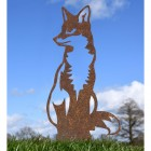 Rustic Sitting Fox Silhouette