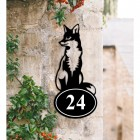 Sitting Fox Iron House Number Sign Created Out of Iron