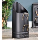 Black Coal Hod with Brass Handles in a Sleek Design