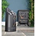 Black Coal Hod with Brass Handles in Situ Next to the Fireplace