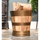 Wooden Barrel Log Bucket With Bronze Rims