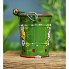 Side view of the Small Green Narrowboat Hand Painted Bucket