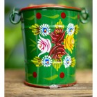 close-up of the Hand Painted Rose Design on the Bucket