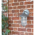 """""""South Shore"""" Silver Large Top Fix Wall Lantern in Situ on a Garden Wall"""