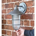 """""""South Shore"""" Silver Large Top Fix Wall Lantern to Scale"""