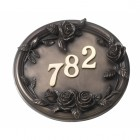 English rose, bronze effect house number sign