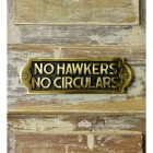 """No Hawkers No Circulars"" Sign Finished in Polished Brass"