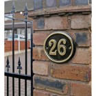 Polished Brass & Black Oval House Number in Situ