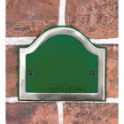 Arched Number Sign Finished in a Green & Chrome with Gold Vinyl Numbers