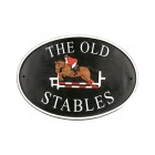 Show Jumper Cast Iron Effect Oval House Name Sign with Personalisation