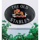 Show Jumper Cast Iron Effect Oval House Name Sign- Vinyl letters