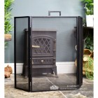 Square Simplistic Three Fold Fireguard Finished in Black