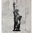 Statue of Liberty Art on a Rustic Grey Wall