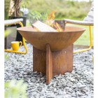Rustic Fire Bowl Being Use to Burn Wood