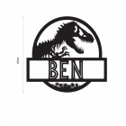 "T-Rex Steel Monogram Name Sign with the Name ""Ben"""
