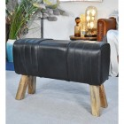 Mango Wood & Black Leather Bench