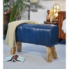 Mango Wood & Leather Bench in the Home