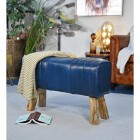 'The Brodie' Mango Wood & Leather Bench in Situ in the Home