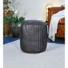 """""""The Coll"""" Black Leather Round Pouffe in Situ"""