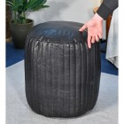 """""""The Coll"""" Black Leather Round Pouffe  to Scale"""