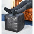 """The Cranborne"" Black Leather Square Pouffe in the Home"