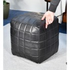 """The Cranborne"" Black Leather Square Pouffe to Sclae"