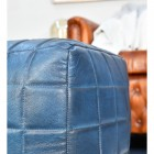 Close-up of the Blue Leather on the Pouffe