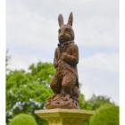 The Elegant Cast Iron Rabbit Sculpture on Display on a Pillar