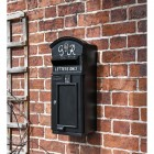 The King George Post Box Slim In Situ on a Black Wall