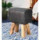 """The Orton"" Mango Wood & Leather Bug Stool Finished in Black"