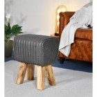 Mango Wood & Black Leather Bug Stool in a House