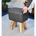 """The Orton"" Mango Wood & Black Leather Bug Stool to Scale"