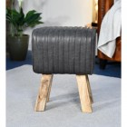 """The Orton"" Mango Wood & Black Leather Bug Stool in Situ in the Sitting Room"
