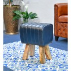 """""""The Orton"""" Mango Wood & Blue Leather Bug Stool in Situ in the Home"""