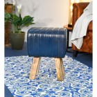 Mango Wood & Blue Leather Bug Stool in a House
